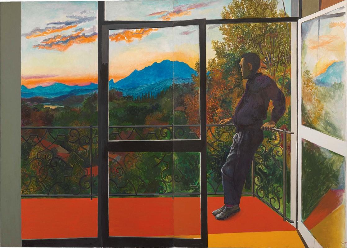 Balcone a velate al tramonto
