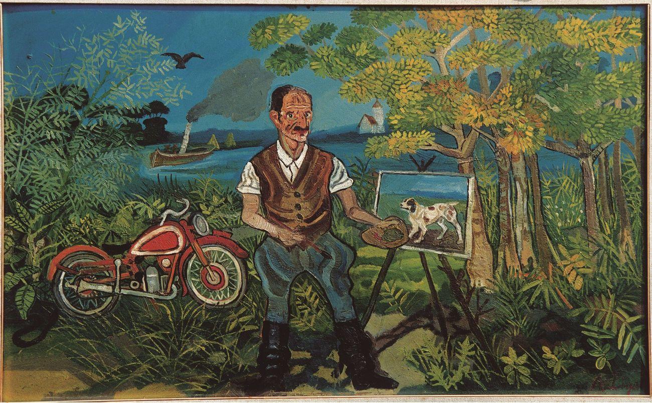 1953 Ligabue autoritratto con moto cavalletto e paesaggiop